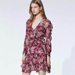 IRO Wick Long-Sleeve Ruched Flounce Dress *NWT*